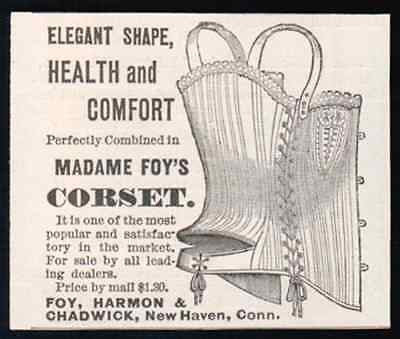 1888 Antique AD Madame Foy's Elegant Shape CORSET a25 Graphic Arts Steampunk - Paperink Graphics