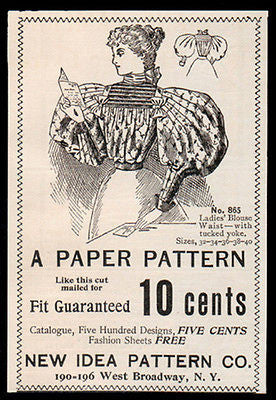 Sewing 1896 Small AD Blouse Pattern Fashion Ladies Waist Paper Pattern Style