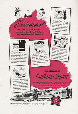 Vista Dome California Zephyr Train Western Pacific 1952 Features Ad - Paperink Graphics