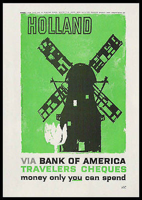 Holland Windmill 1959 Print Travel Ad Bank of America - Paperink Graphics