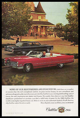 Cadillac Red Convertible Mom the Chauffeur Automobile 1966 Photo Ad