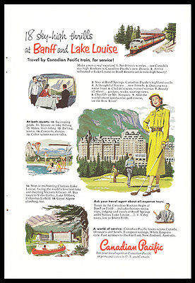 Banff and Lake Louise Golfing Sports 1952 Canadian Pacific Ad
