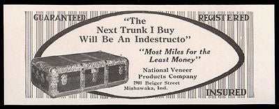 Indestructo Travel Trunk Mishawaka IN Photo 1914 AD - Paperink Graphics