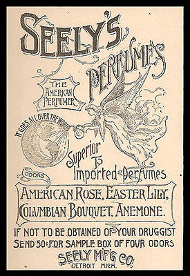 Angel Perfumes the World Seely's Perfumes Odor not Scent 1893 Print Ad - Paperink Graphics