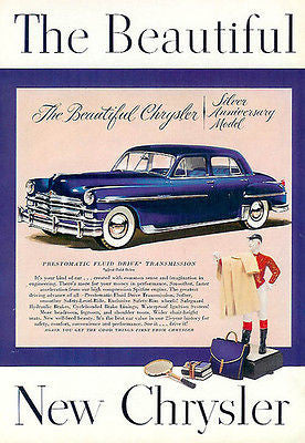 Chrysler Silver Anniversary Model Chrome Blue White Wall Classic 1940s Car Ad - Paperink Graphics