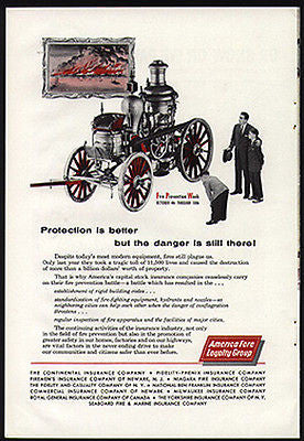 Horse Drawn Steam FIRE Engine 1959 Photo AD
