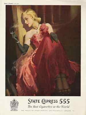 Sensual Blond Red Gown State Express 555 UK Cigarette 1953 AD