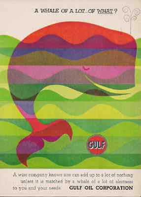 Whale Pop Culture Art Graphics 1960 AD Gulf Oil Industry Advertising - Paperink Graphics