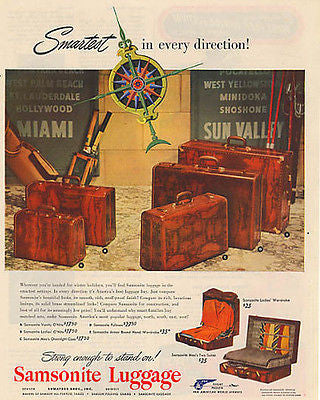 Samsonite Luggage Smartest In Every Direction 1948 Ad - Paperink Graphics