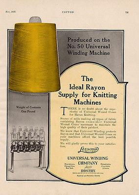 Knitting Machine Rayon Universal Winding Cones 1926 Textile Industry Ad