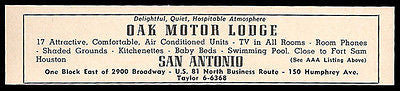Oak Motor Lodge Motel Ad San Antonio Texas 17 Rooms AC 1964 Roadside Ad Travel