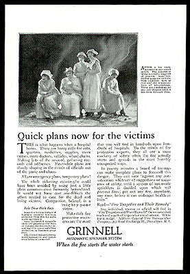 Nurses Early Uniforms Grinnell Fire Industry Ad 1919 Automatic Sprinkler System