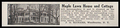 Woodbourne 1915 Sullivan County NY Maple Lawn House and Cottage Hotel Photo AD
