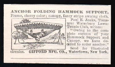 Hammock Canopy 1899 Gifford Folding Garden Canopy AD Waterown, NY - Paperink Graphics
