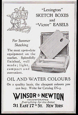 Sketch Boxes Easels Oil Water Paints W&N 1923 Photo AD