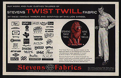Lion 1959 Ad Stevens Twist Twill Fabric Lion Symbol