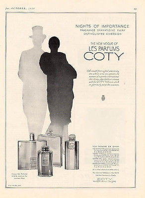 Vogue Coty Perfume 1929 Ad Nights of Importance L'Aimant Paris Chypre Emeraude - Paperink Graphics