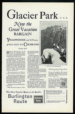 Glacier National Park 1927 Burlington Route RR Ad Climbing the Peak Photo