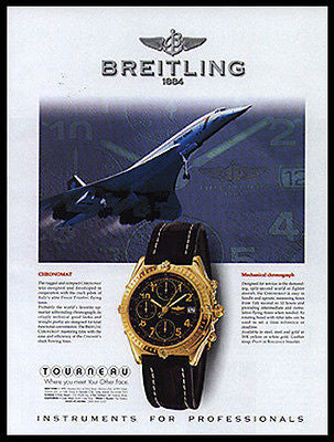 Breitling Chronomat Chronograph 1997 Ad Concorde Liftoff Aviation