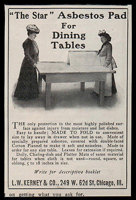 Asbestos Pad AD 1907 The Star 2 Ladies Dining Tables Heat  Moisture Protected