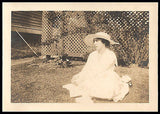 Antique Photograph Summer Day Woman Sitting in Grass White Large Brim Hat Photo - Paperink Graphics
