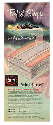 SERTA Perfect Sleeper Mattress AD 1950 Buxom Blonde Black Lace Gown Advertising