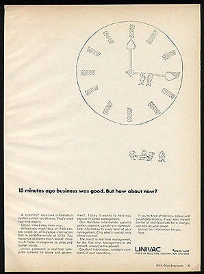 Univac Sperry Rand Real Time Information Clock 1970 Cartoon Ad
