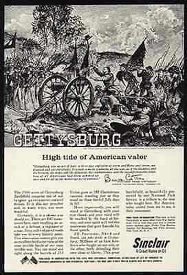 Cannon Battle Scene Gettysburg Picketts Heroic Charge 1961 Sinclair Oil AD - Paperink Graphics