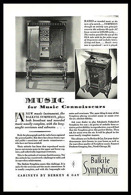 Balkite Symphion AD 1928 Music Connoisseurs Radio Sound 201A Tube Advertisement