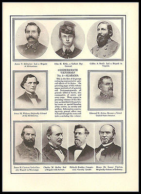 Alabama Generals Identified Confederate Army Civil War Print