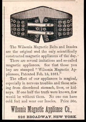 Magnetic Belts Insoles Wilsonia Magic Cure 1885 AD Antique Quack Advertisement