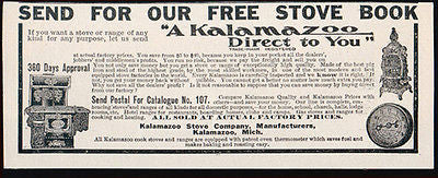 Kalamazoo Stove Manufacturer 1907 Kitchen Cooking Ad Household Appliances
