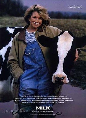 Martha Stewart Business Executive Milk Mustache 1997 Dairy Ad Holstein Cow