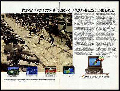 Soapbox Derby 1985 Photo Print AD AMIGA Computer 2 page Computing Technology