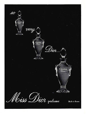 1964 AD Christian Dior French Miss Dior Made in France Perfume Illustration Ad - Paperink Graphics