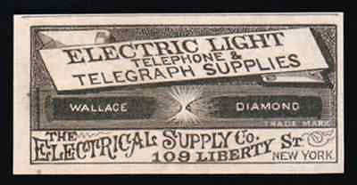 Electric Light Telephone Telegraph Wallace Diamond New York 1883 Small AD