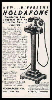 Rotary Telephone Stand AD 1938 Smart Modern Design Holdaphone Illustrated  AD
