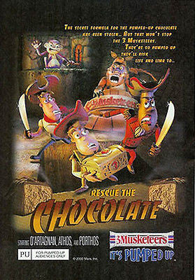Chocolate Rescue 3 Musketeers 2000 LOL Mars Candy Ad - Paperink Graphics