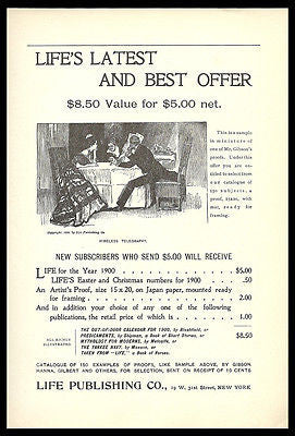 Gibson Girl Proof AD 1900 Life Bonus Artist Charles Dana Gibson Publication AD - Paperink Graphics