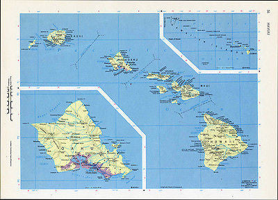 Hawaii Hawaiian Islands Vintage Map 1964 Cosmo Series Wall Art