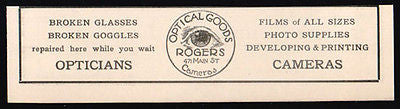 Rogers OPTICAL Goods Eyeglasses 1927 EYE LOGO Sprfld MA