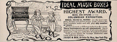 Ideal Music Box 1896 Ad Musical Instrument Dancing Girls Columbian Exposition - Paperink Graphics