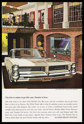 NYWF Pontiac Bonneville 1964 Print Ad New York World's Fair - Paperink Graphics