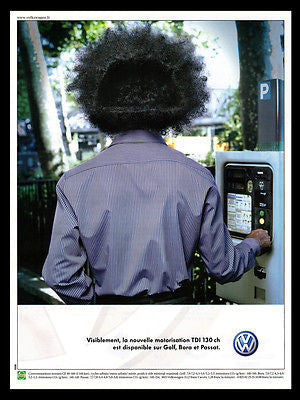 VW Volkswagen AD Funny Haircut 2001 French Text Golf Passat Volkswagen Auto AD