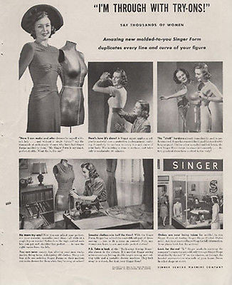 Singer Sewing Form MANNIQUIN 1941 Photo AD