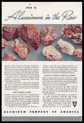 Aluminum Raw Bauxite 1938 Metallic Minerals Photo  Ad ALCOA - Paperink Graphics