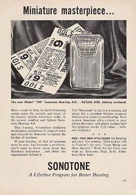 Sonotone Hearing Aid 1955 Vintage Medical Device AD Miniature 100 Masterpiece