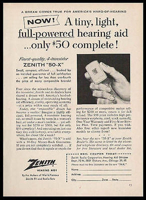 Hearing Aid Zenith Transistor 1956 Photo Illustration Ad 50 - X Medical Device