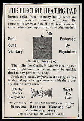 Simplex Electric Heating Pad Relief Aches Pains 1907 Antique Ad