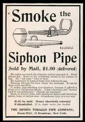 Tobacco Pipe Co. Broadway NY Small Pipe Ad 1902 Smoke Siphon Tobacciana - Paperink Graphics